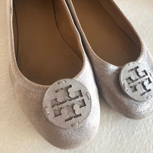Tory Burch Minnie Ballet Flat Metallic Perf Sand